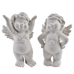 Angel Anton 2ass. Deco Figures polyresin 17x11x8cm white