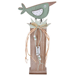Stand Bird Deco-Object wood 43x18x6cm natural-teal