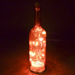 Lichtflasche 15 LED Bottle Design Glas 30x7x7cm rot