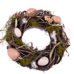 Wreath Eggs-Feathers naturalmaterial 25x25cm brown-natural