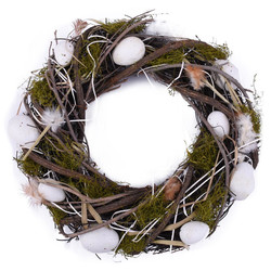 Wreath Eggs-Feathers naturalmaterial 34x34cm natural-white