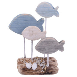 Fish Deco-Object driftwood 28x23x8cm blue-natural