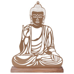 Buddha -Ambient- Deco-Object metal-wood 28x21x6cm gold