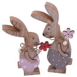 Rabbits -Sweetie- Decoration wood 21x15x3cm pink-natural