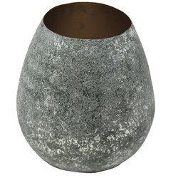 Vase -Crushed- Metall 19x18x18cm rosa-gold