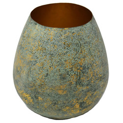 Vase -Crushed- Metall 19x18x18cm mint-gold