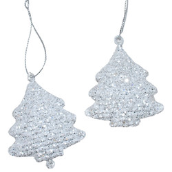 Deko-Hanger -Shiny Tree- Set-2 metal 8x5cm white-glitter