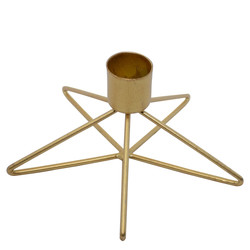 Candleholder -Structure- metal 7x12x12cm gold