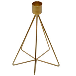 Candleholder -Structure- metal 17x12x12cm gold