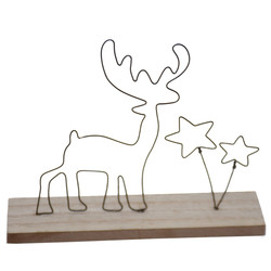 Wire-Deco -Deer- wood 16x13x4cm natural