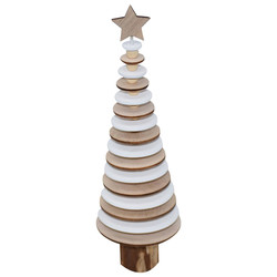 Tree -Disc- Deco wood 30x10x10cm natural-white