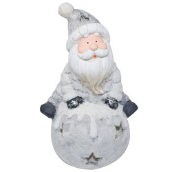 Santa -Jerry- Deco-Figure clayfibre 40x25x18cm grey