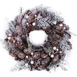 Wreath -Frosty Cones- materialmix 25x25x7cm green-brown