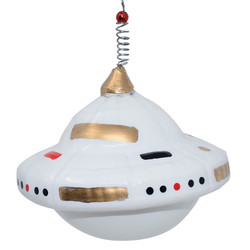 Bauble -Ufo- glass 12cm white-gold