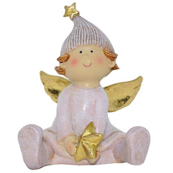 Angel -Julius- Deco-Figure polyresin 8x7x5cm pink-gold