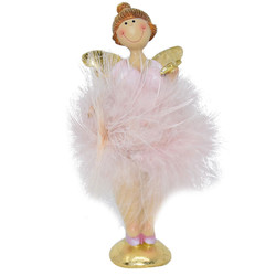 Angel -Laura- Deco-Figure polyresin 14x6x4cm pink-gold