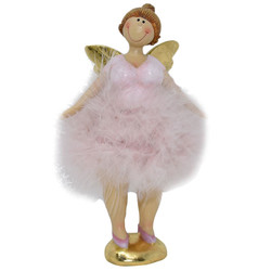 Angel -Laura- Deco-Figure polyresin 18x6x5cm pink-gold