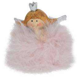 Angel -Betty- Deco-Figure polyresin 7x6x4cm pink-silver