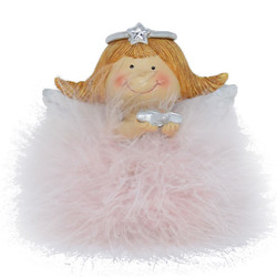 Angel -Betty- Deco-Figure polyresin 10x10x8cm pink-silver