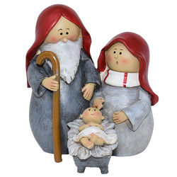 Nativity Scene -Cosy- Deco-Figure polyresin 11x10x8cm red
