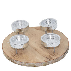 Candleholder -Advent- wood-metal 8x30x30cm natural-silver