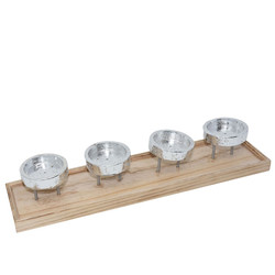 Candleholder -Advent- wood-metal 9x48x12cm natural-silver