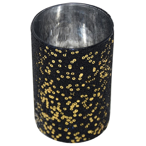 Tealightholder -Samura- glass 12x8x8cm black-gold