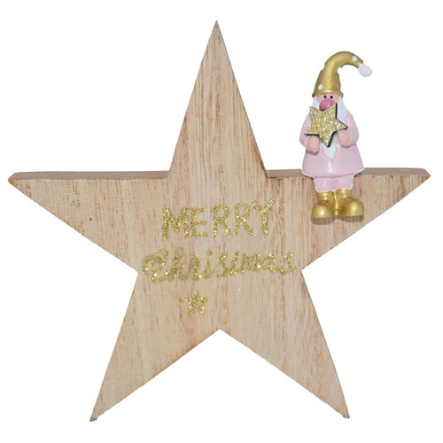 Star -Santa- wood 13x13x2cm natural-pink