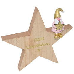Star -Santa- wood 16x16x2cm natural-pink
