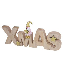 Letters -Xmas- wood 12x26x2cm pink-natural
