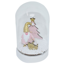 Bell -Santa- LED wood-glass 15x9x9cm pink-natural