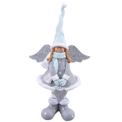 Angel Chique-Design polyresin grey-teal 18x10x5cm