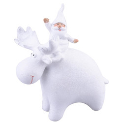 Santa with Reindeer Deco-Figure polyresin 12x10x8cm white