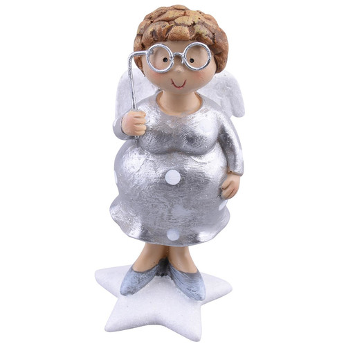 Mamsell Star-Design Deco-Figure polyresin 11x5x5cm silver-white