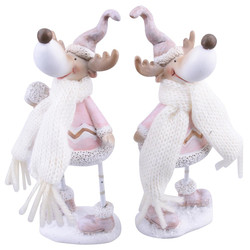 Reindeer 2ass. Deco-Figure polyresin 14x5x5cm pink-white