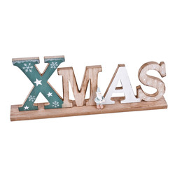 Xmas Letters Deco-Object wood 13x34x4cm teal-natural