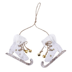 Ice-Skate Deco-Hanger wood 7x9cm white-gold