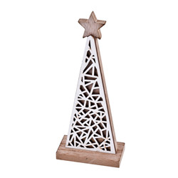 Tree Xmas-Design Deco-Object wood 19x8x4cm white-natural