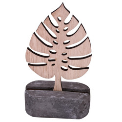Leaf Deco-Object wood-stone 12x7x3cm natural-grey