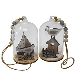 Beach Set-2 Deco-Hanger glass 10x6x6cm natural-blue