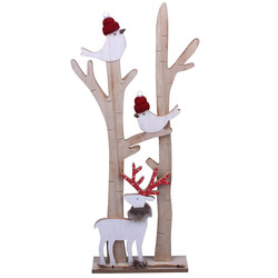 Tree Xmas-Design wood 62x23x5cm natural-red