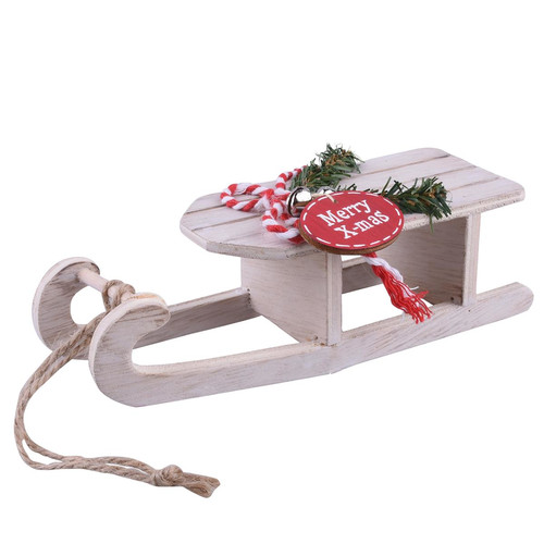 Sleigh Xmas-Design wood 5x17x6cm natural-red