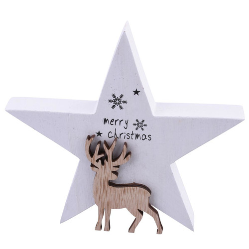 Star Reindeer Deco wood 16x15x3cm white-natural
