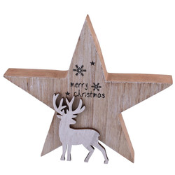 Star Reindeer Deco wood 22x21x3cm white-natural