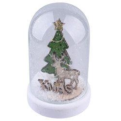 Glass-Bell LED-Xmas glass-wood natural-green 15x10x10cm