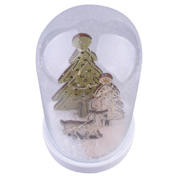 Glass-Bell LED-Xmas glass-wood natural-green 20x11x11cm