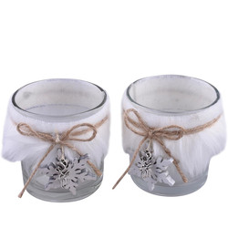 Tealightholder -Snowflake- Set-2 glass 8x7x7cm white