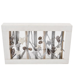 Christmas Xmas Deco Object wood 23x37x5cm white grey