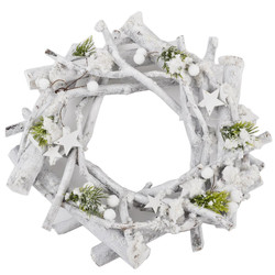Wreath Xmas Design natural 31x31x6cm white green