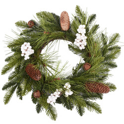 Wreath Fir-Cones plastic green-brown-white 40x40x10cm